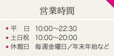 営業時間 平 日10:00~22:30 土日祝10:00~20:00 休館日毎週金曜日/年末年始など
