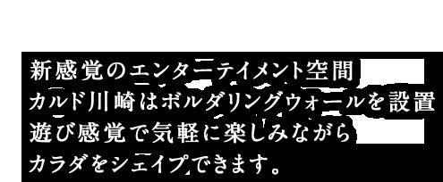 新感覚のエンターテイメント空間 カルド川崎はボルダリングウォールを設置 遊び感覚で気軽に楽しみながらカラダをシェイプできます。
