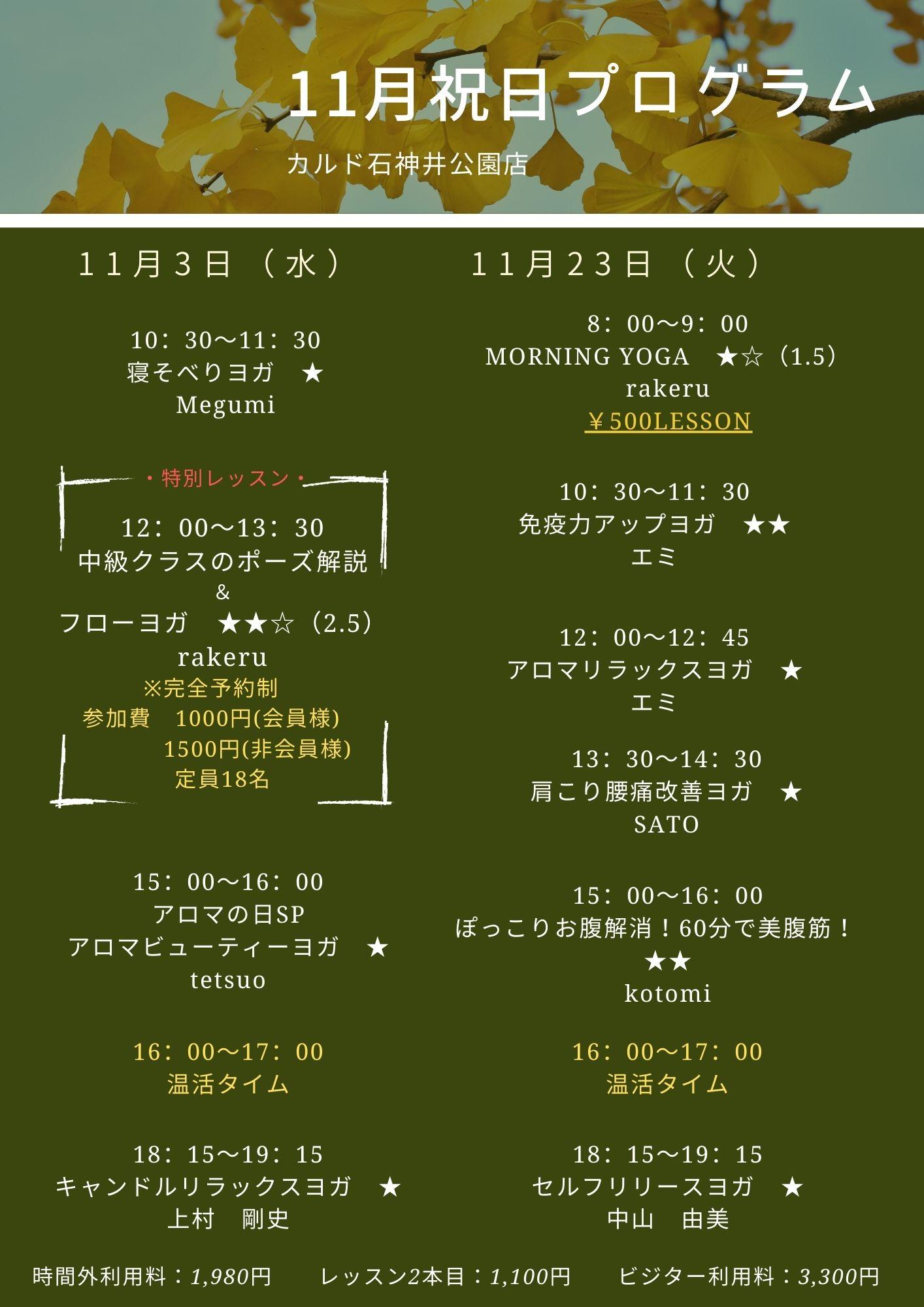 11月祝日プログラム